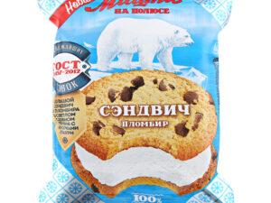 Мороженое. Казахстан. Мишка на полюсе пломбир ванильный сэндвич в сдоб печенье 85гр