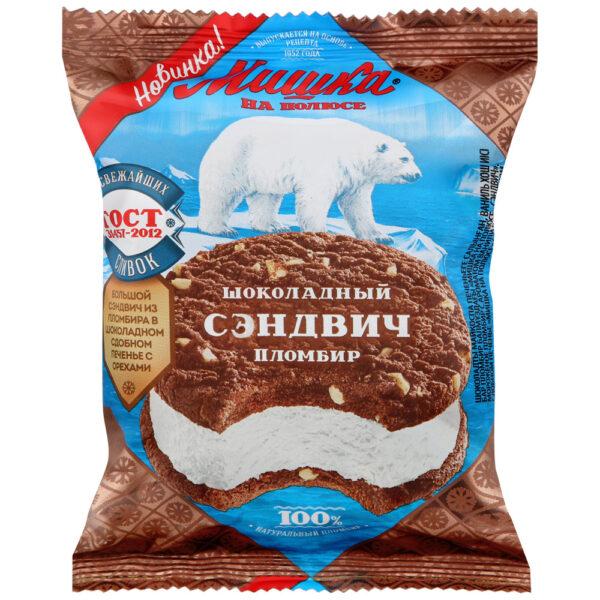 Мороженое.Казахстан. Мишка на полюсе пломбир сэндвич в шоколадном печенье 85гр